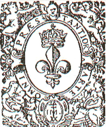 "The bold front cover page of the 1597 French publication of The Advancement of Learning in which Bacon's Masonic ""I M"" mark is displayed"